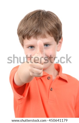 young boy with thumbs up symbol isolated white background