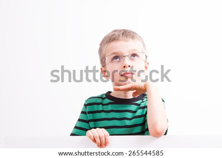 Young boy with white the board - stock photo