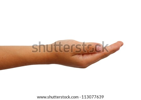 Young boys arm with a cupped hand over a white background. Giving or receiving with palm facing up.