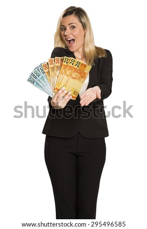 Young brazilian business woman holding a real bill, isolated on white background - brazilian people