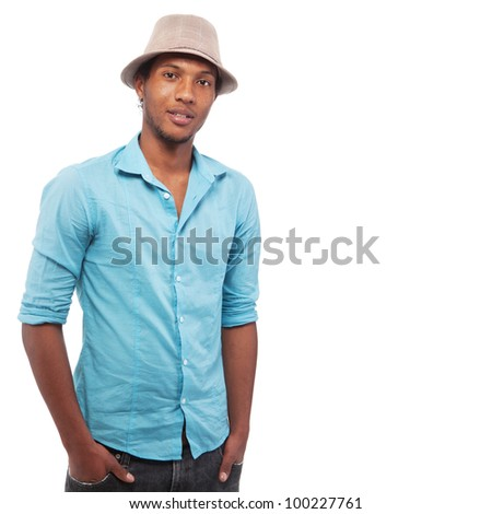 Young brazlian man with a hat isolated over white background. - stock photo
