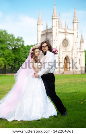 Young  bride and groom in love - stock photo