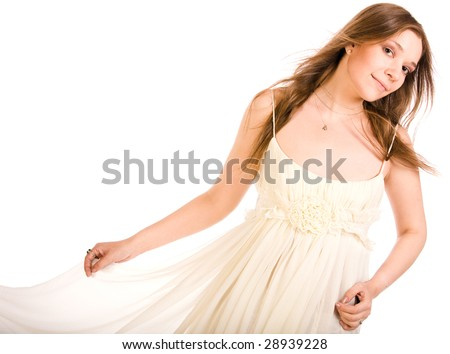 young bride in chiffon dress