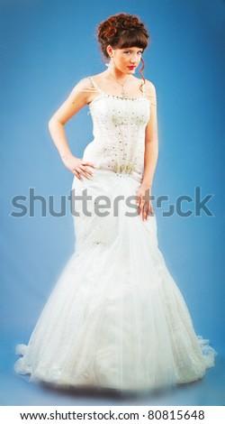 Young bride in studio shooting - stock photo