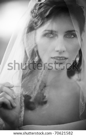 Young bride portrait. Black and white colors.