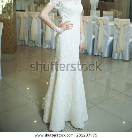 Young bride wearing slim gorgeous wedding dress.