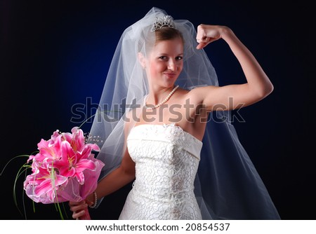 young bride with bouquet of lilys on a black background - stock photo