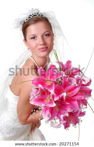 young bride with bouquet of lilys on a white background - stock photo