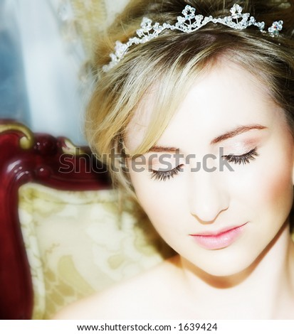 Young bride with dreamily closed eyes - stock photo
