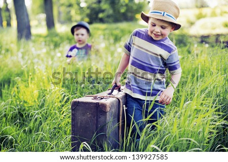 Young brothers on vacation - stock photo