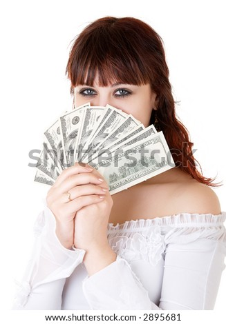 Young brown-haired woman thinking how to spend her money
