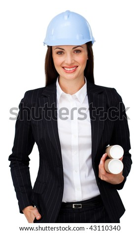 Young brunette architect holding blueprints against a white background - stock photo