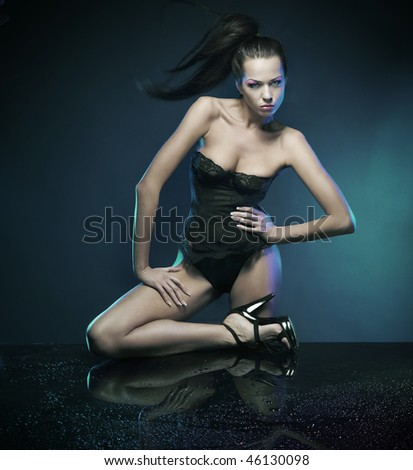 Young brunette beauty - stock photo
