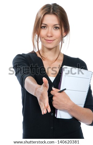 Young brunette business woman give handshake and smiling in casual cloth isolated on a white background - stock photo
