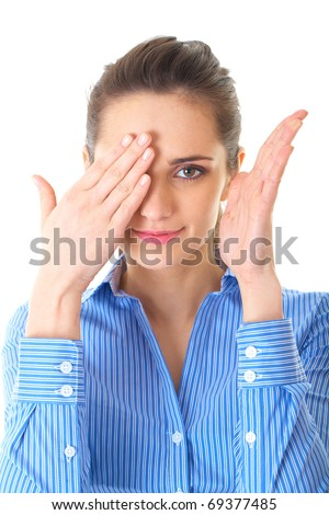 young brunette businesswoman covers one of her eyes, isolated on white - stock photo