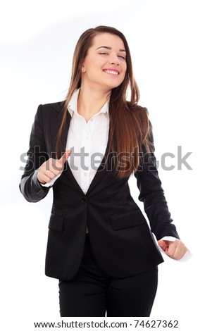 Young brunette businesswoman dancing celebrating her success - stock photo