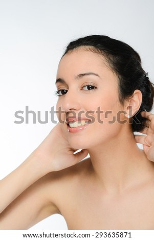 young brunette ethnic woman natural beauty naked shoulders - stock photo