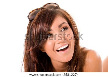 young brunette girl laughing