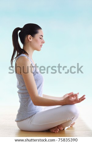 young brunette girl making yoga - stock photo