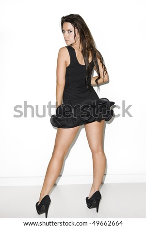 young brunette glamout model wearing lingerie - stock photo