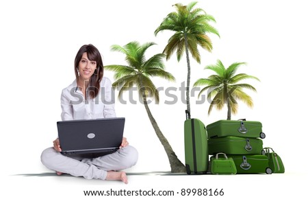 Young brunette sitting with a laptop with a tropical vacation background - stock photo