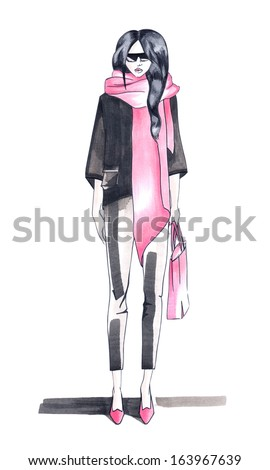 young brunette with a long scarf fashion drawing
