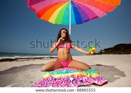 Beach squirt, hot sexy bookworm haley teen