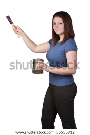 young brunette woman holding brush and paint container