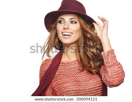 young brunette woman in autumn color isolated on white - stock photo