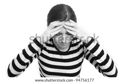 Young brunette woman looking depressed isolated on white background;
