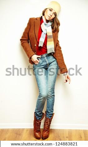 young brunette woman portrait - stock photo