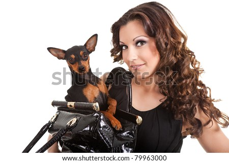 young brunette woman with dog,  close-up,  portrait on white background - stock photo