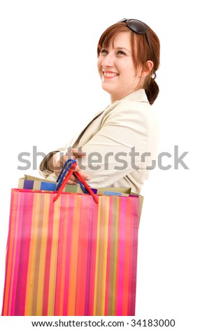 Young brunette woman with shopping bags
