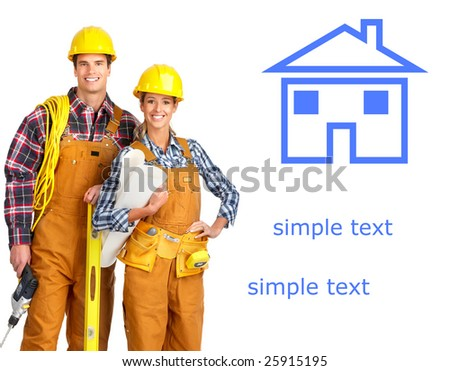 Young builder people  in yellow uniform. Isolated over white background