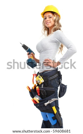 Young builder woman with a drill. Isolated over white background - stock photo