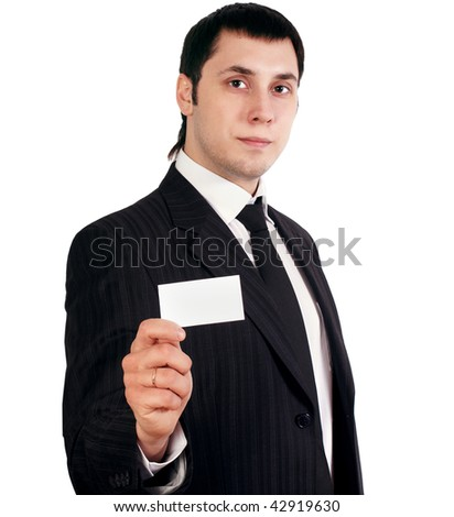 young businesman in black dress isolated on white