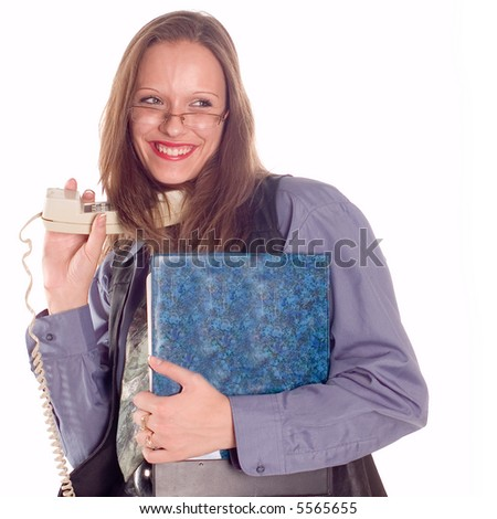 Young business brunette woman making a call
