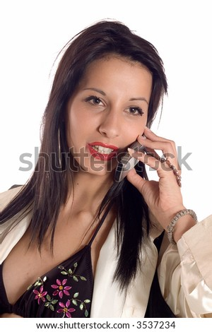 Young business brunette woman making a mobile call