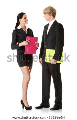 Young business colleges wearing business suit isolated on white background - stock photo