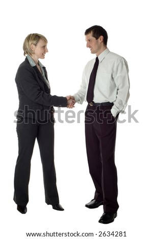 young business couple handshaking on white - stock photo