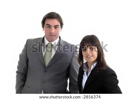 young business couple portrait isolated on white