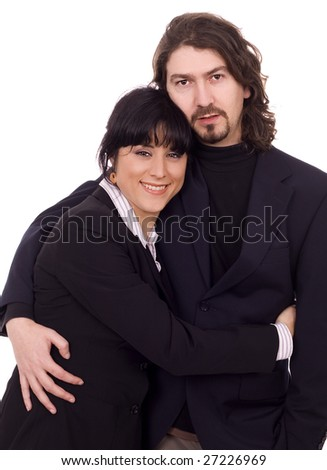 young business couple white isolate