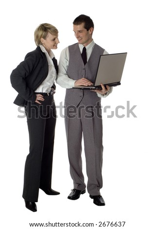 young business couple with laptop on white - stock photo