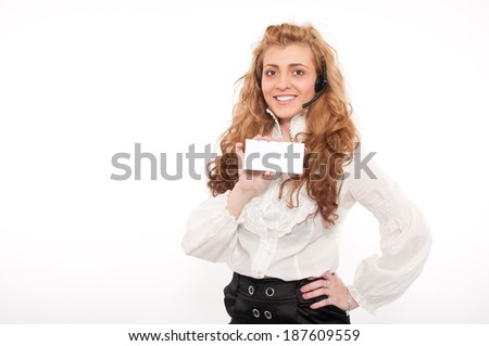 Young business female customer service representative holding white empty paper sign