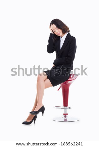 Young business having a stress  isolated on white background.