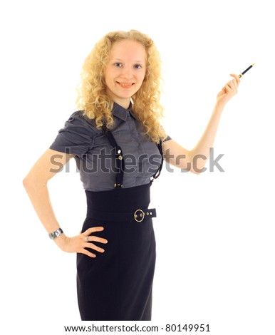 Young Business holding a pen and smiling isolated on a white background