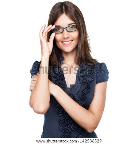 Young business lady in glasses isolated on white background - stock photo
