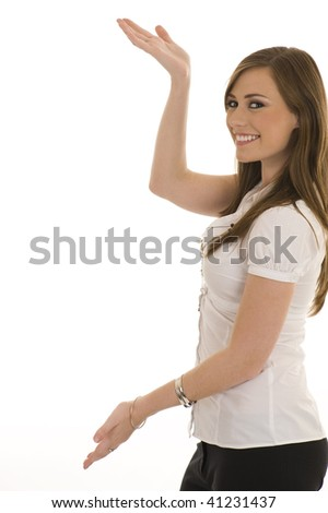 Young business lady indicating. Studio with isolated white background. - stock photo