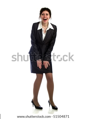 Young business lady on heels isolated on white - stock photo