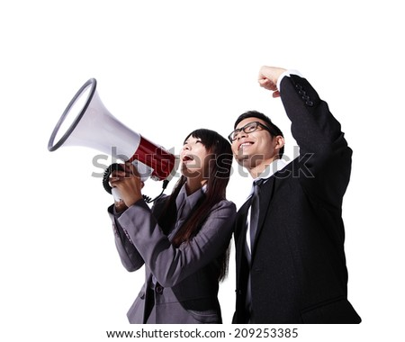 Young business man and woman shouting into a megaphone up forward isolated on white background, asian - stock photo